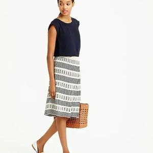 J. Crew Pleated Sweater Midi Skirt in Stripe